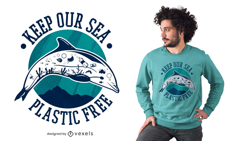 Plastikfreies Meer-T-Shirt Design
