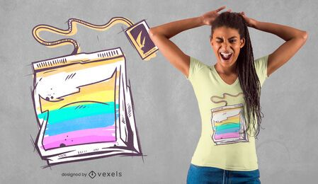 Design de t-shirt em saquinho de chá colorido