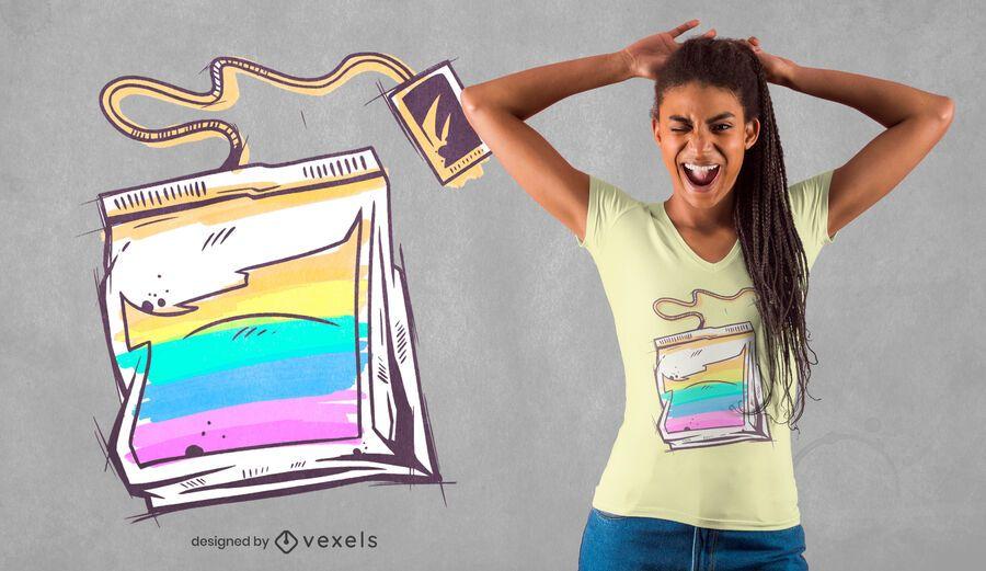 Diseño de camiseta colorida bolsa de té