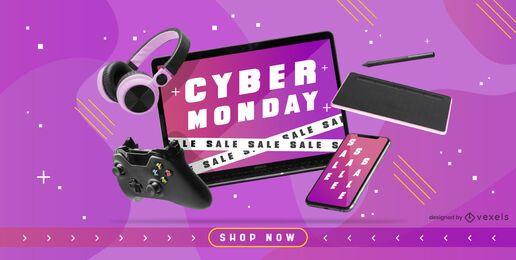 Design do controle deslizante da promoção Cyber Monday