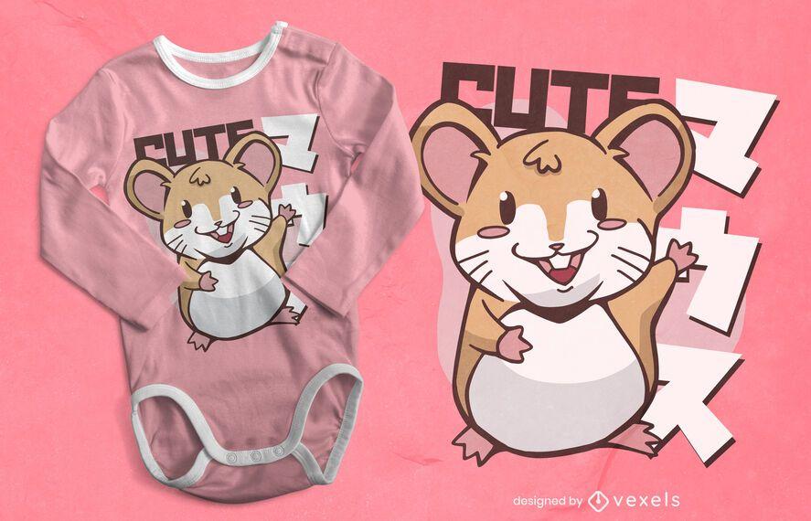 Design de t-shirt do rato Kawaii