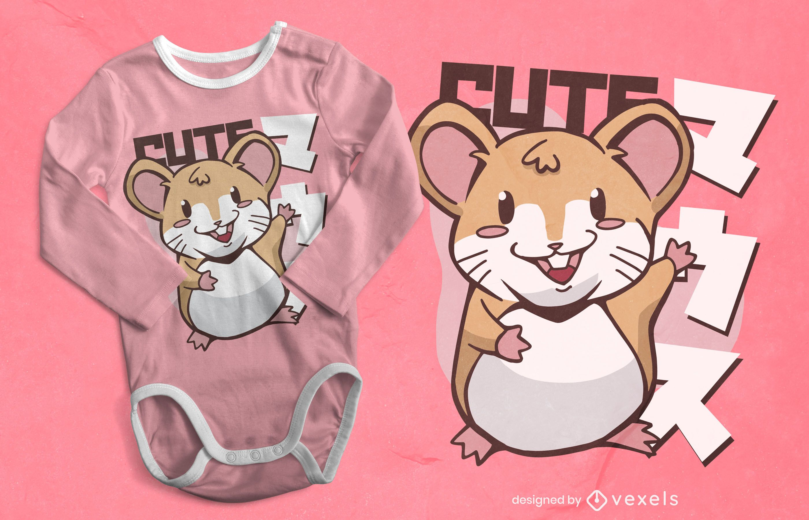 Diseño de camiseta kawaii mouse