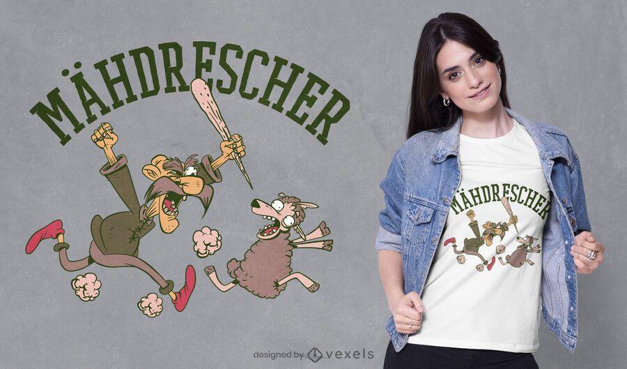 Design de camiseta de fazendeiro perseguindo ovelha