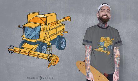 Diseño de camiseta de cosechadora combinada