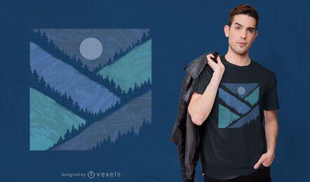 Diseño de camiseta de montañas geométricas.
