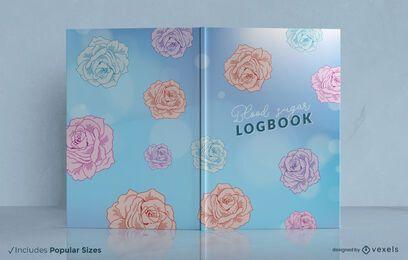 Design de capa de livro com rosas coloridas