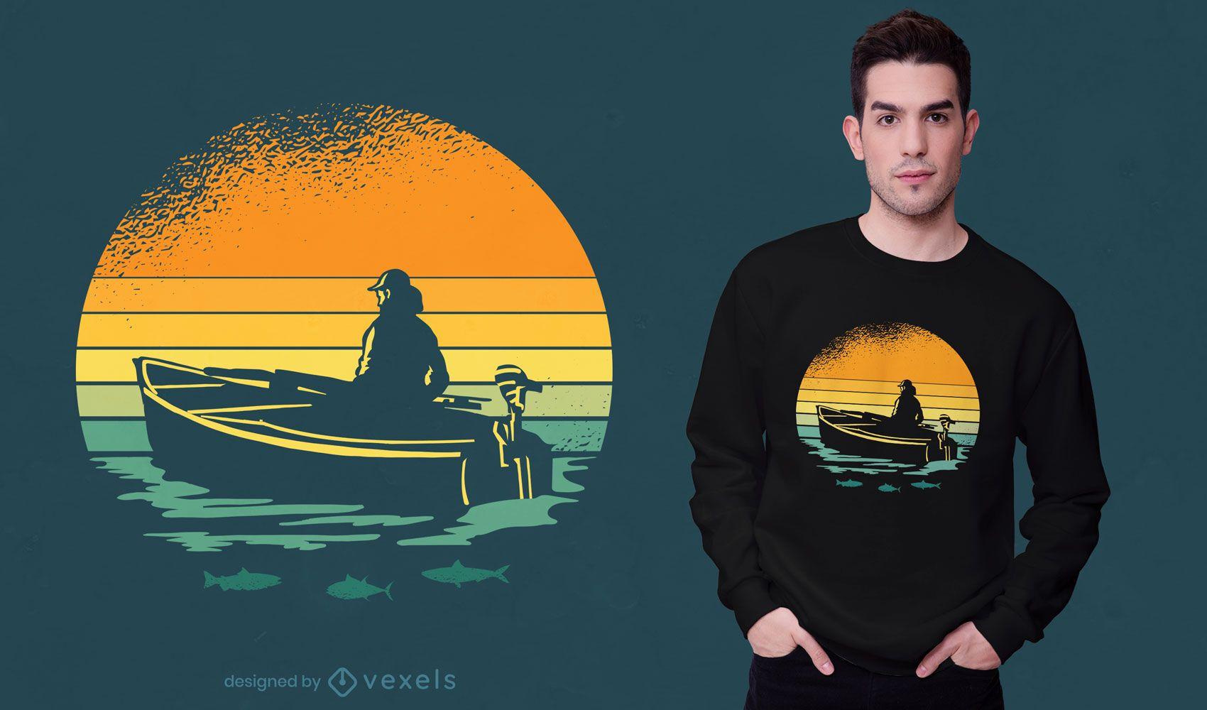 Diseño retro de camiseta de barco al atardecer