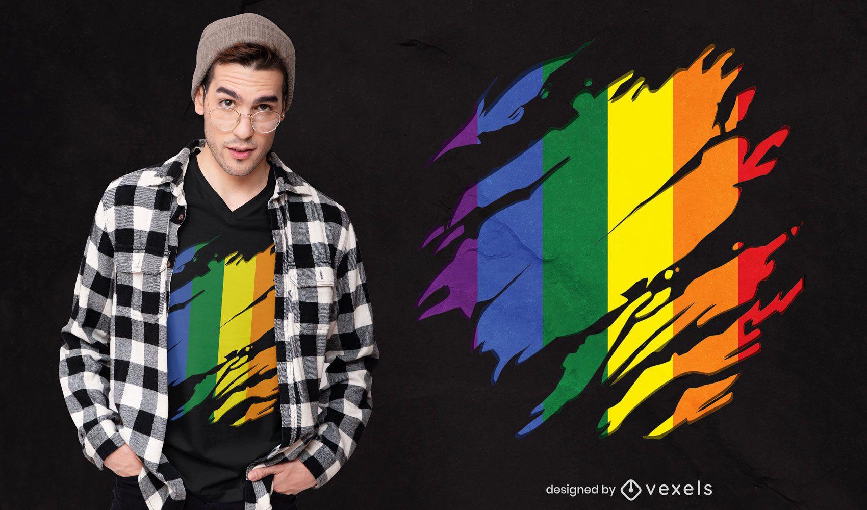 Diseño de camiseta rayada con bandera lgtb