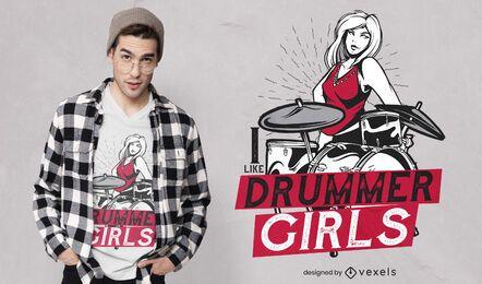 Diseño de camiseta de chicas bateristas