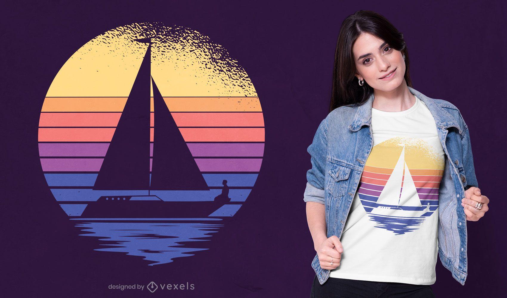 Design retrô de camisetas de veleiro ao pôr do sol