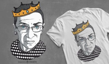 Diseño de camiseta de ruth bader crown