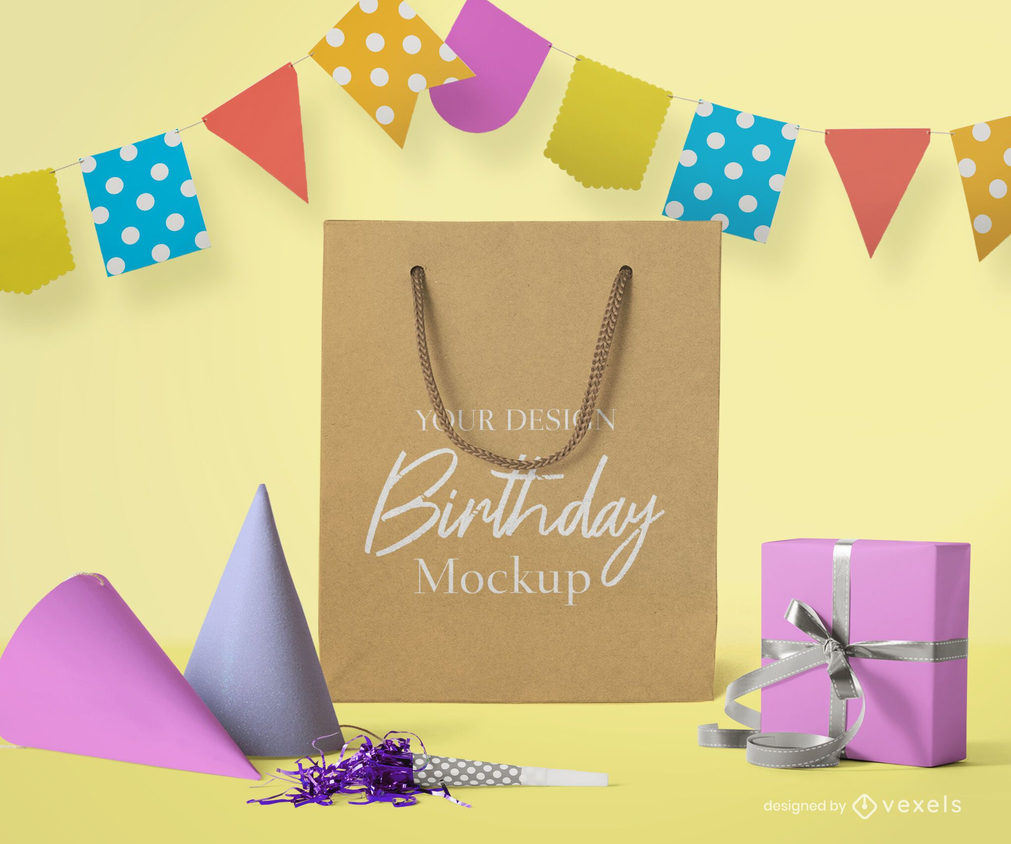 Paper bag celebration mockup composition