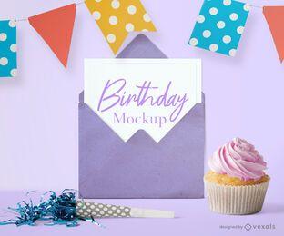 Composição de maquete de festa de cartão de aniversário