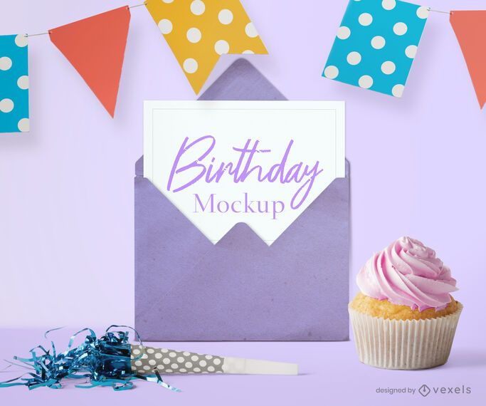 Birthday card party mockup composition