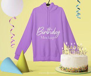 Composição de maquete de moletom de aniversário