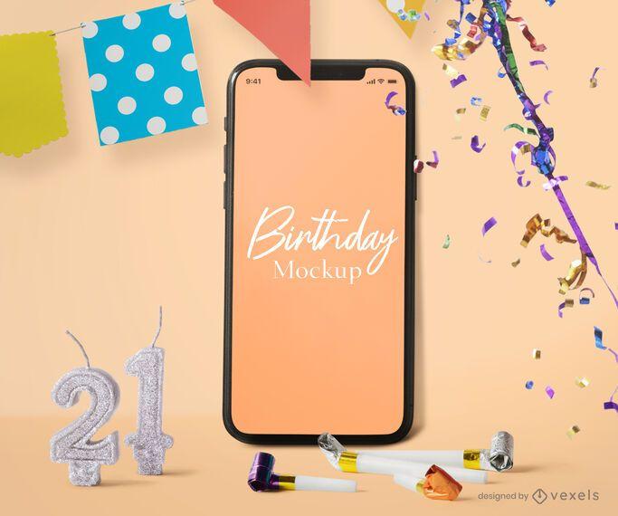 Composição de maquete de iphone de aniversário