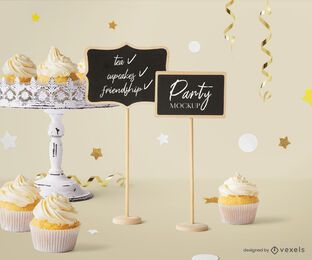 Mini chalkboards party mockup composition