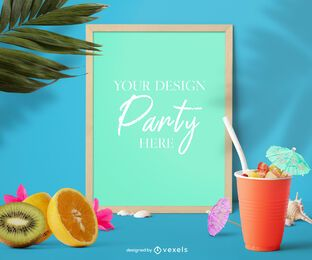 Pool party frame mockup composition