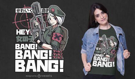 Anime Militär Mädchen T-Shirt Design