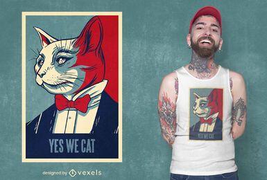 Sí, diseño de camiseta de gato.