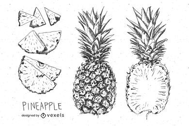 Hand drawn pineapple set design