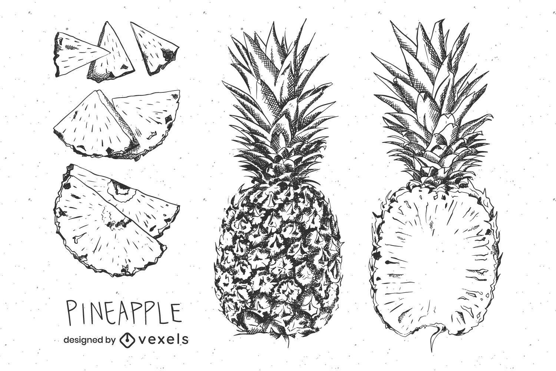 Hand drawn pineapple set design