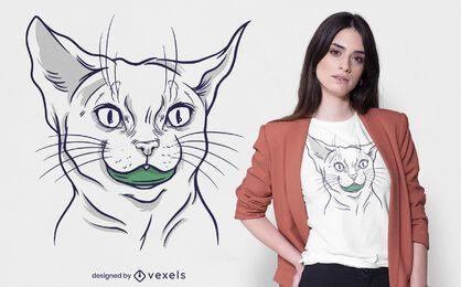 Diseño de camiseta de gato protector bucal.