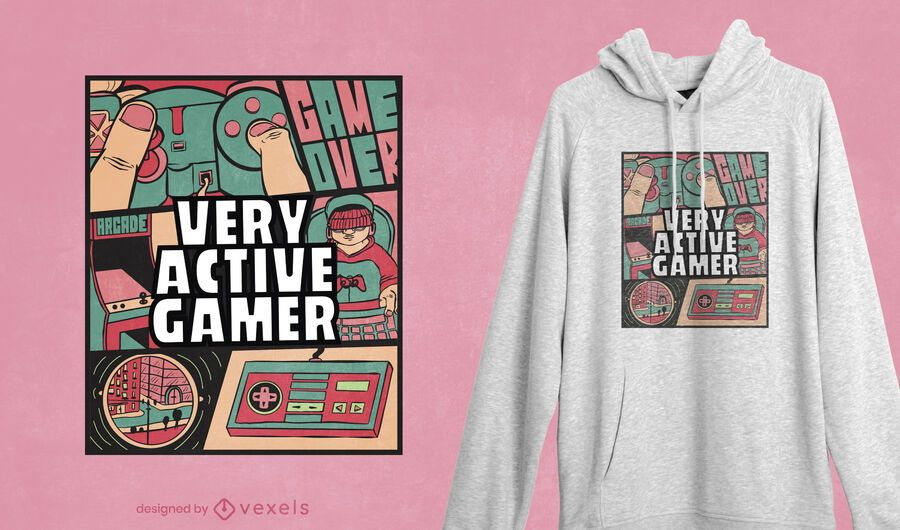 Active gamer t-shirt design