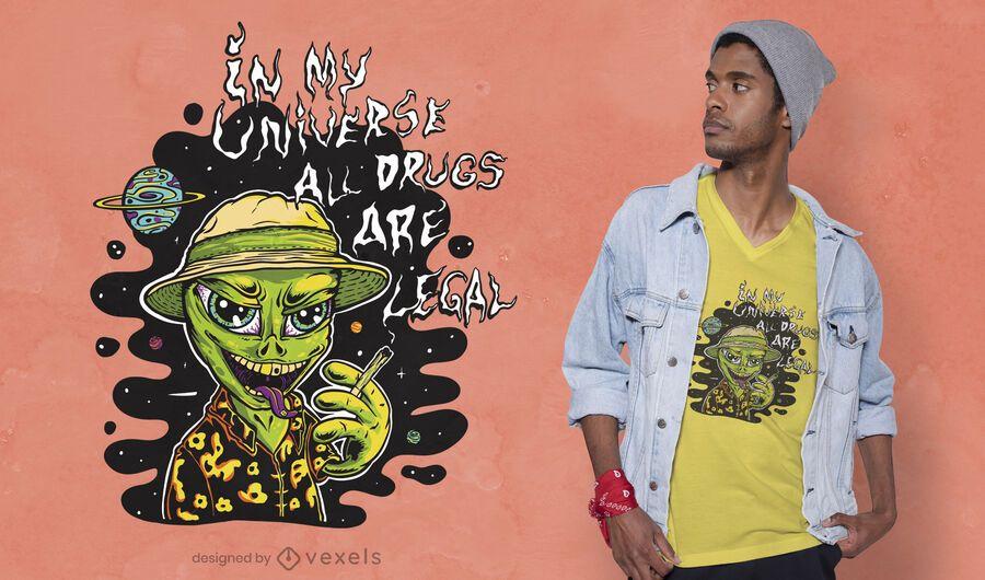 Stoned alien t-shirt design
