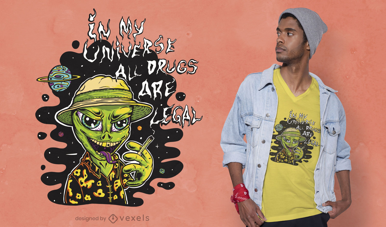 Design de camiseta alienígena chapada