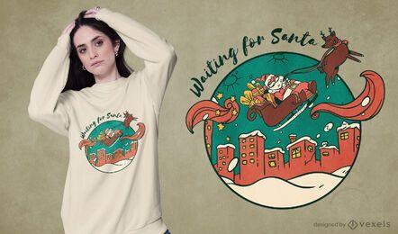 Waiting for santa t-shirt design