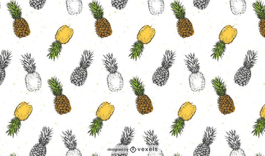 Desenho realista de padrão de abacaxi