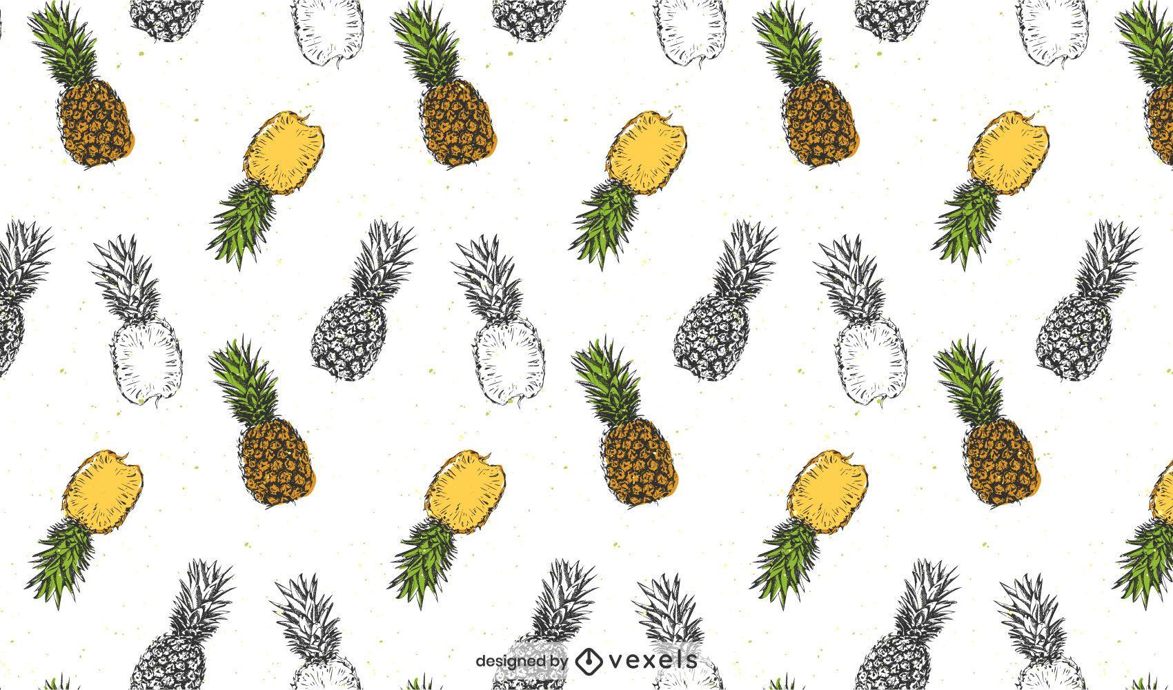 Desenho realista de padr?o de abacaxi