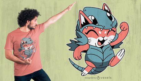 Diseño de camiseta de gato dragón