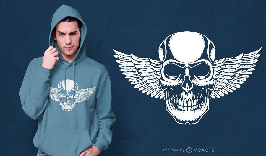 Design de camiseta com caveira alada