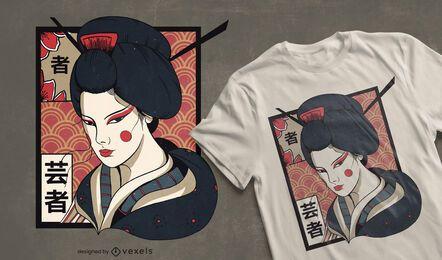 Diseño de camiseta de geisha tradicional.
