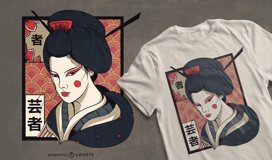 Traditional geisha t-shirt design
