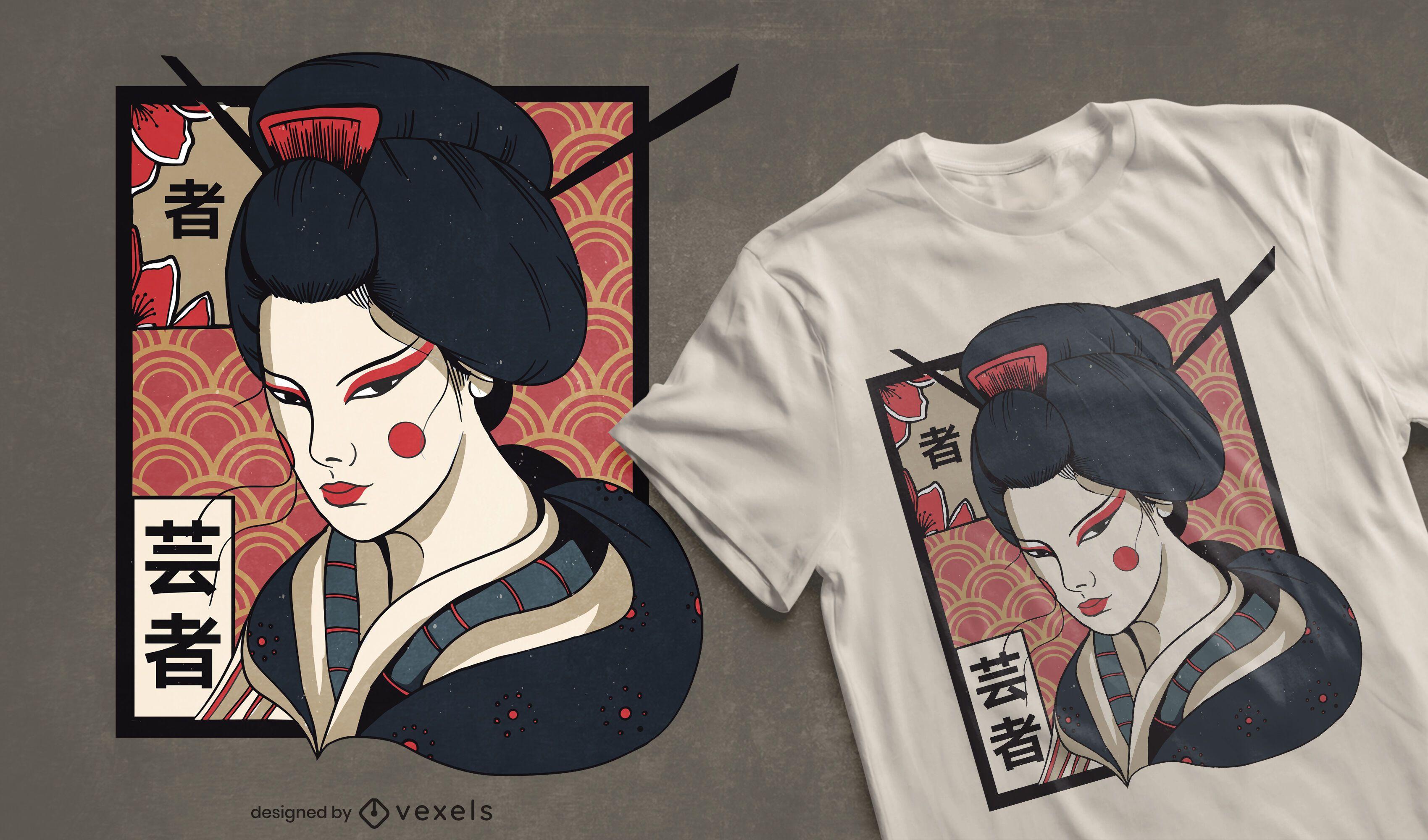 Dise?o de camiseta de geisha tradicional.