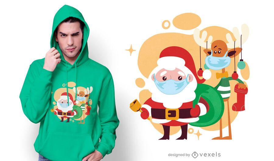 Cute christmas characters t-shirt design