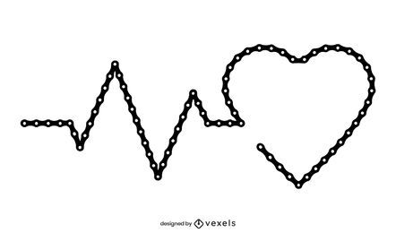 Diseño de ilustración de latido de cadena de bicicleta