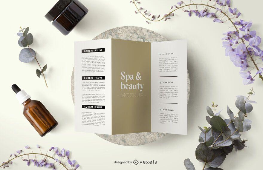 Beauty brochure mockup composition