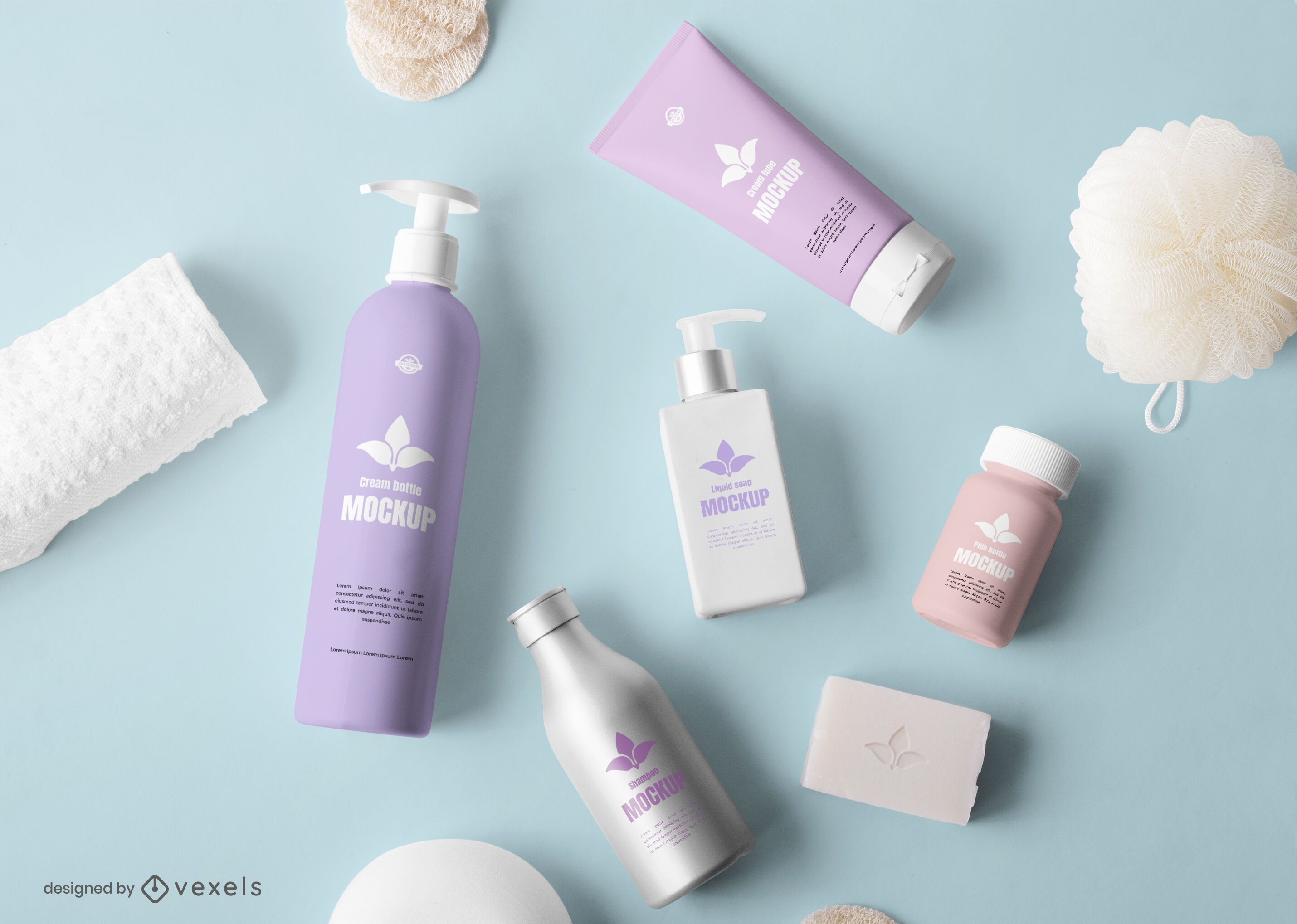 Cosmetic bottles mockup composition psd