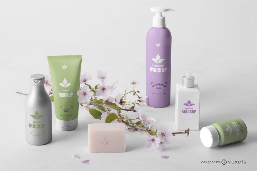 Composição de maquete de frascos de beleza