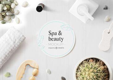 Composición de maqueta de spa y belleza psd