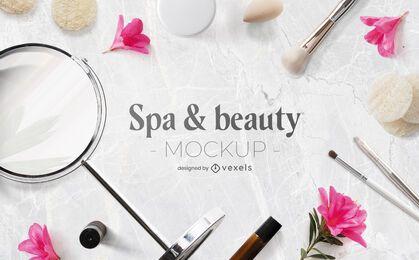 Composición psd de maqueta de spa y belleza