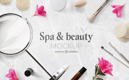 Spa & beauty mockup psd composition