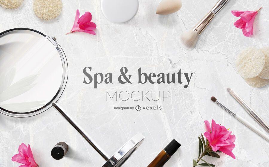 Spa & beauty mockup psd composition