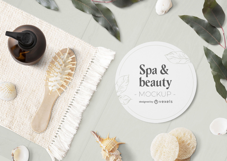 Composición de maqueta psd de spa y belleza