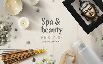Composición de maqueta de spa de belleza