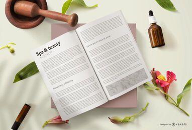 Composição da maquete de revista de beleza